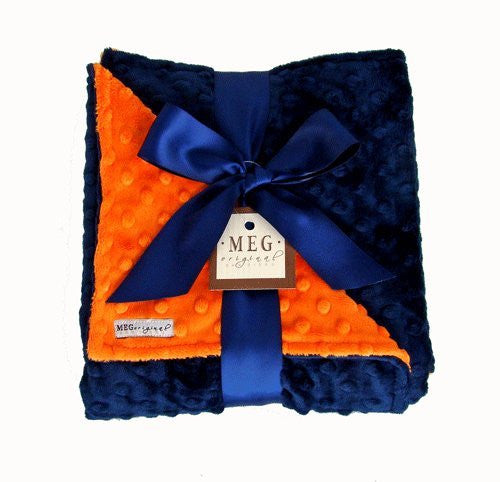 Navy Blue & Orange Minky Dot Blanket