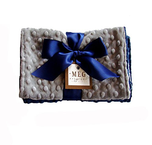 Navy Blue & Gray Minky Burp Cloth Set