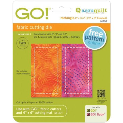 "Accuquilt - Go! Fabric Cutting Die - Rectangle -1-1/2""X3"""
