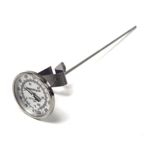 "Tel-Tru 12"" Stainless Steel Cheesemaking Thermometer 0/220 degrees F"