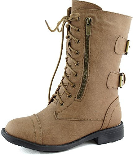 Women's Combat Military Cowboy Mid Calf Rubber Sole Lace up Ankle Buckles Strap Stean Punk Round Toe Flat Heel Motorcycle Casual Combat Boots Fashion Designer Comfort Shoes,7 B(M) US,Taupe (Zipper with Belt)