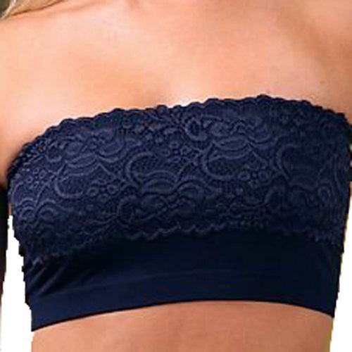Lace Strapless Bandeau - One Size (Navy Blue)