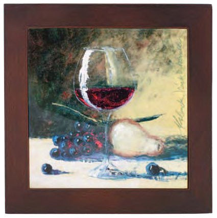 Ceramic Trivet with Wine glass and Fruit Art Image