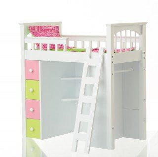 Doll Loft Bed with Hot Pink and Apple Green Linens