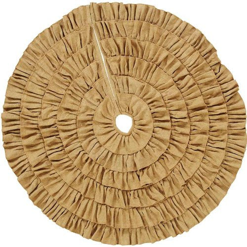 Burlap Natural Ruffled Tree Skirt 48""