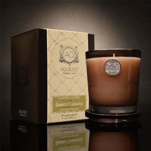 Bamboo Teakwood 11 oz. Candle w/ Lid in Gift Box
