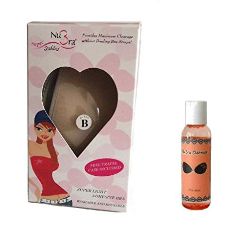 NuBra Super Padded Adhesive Bra + Cleanser, Tan, Cup A