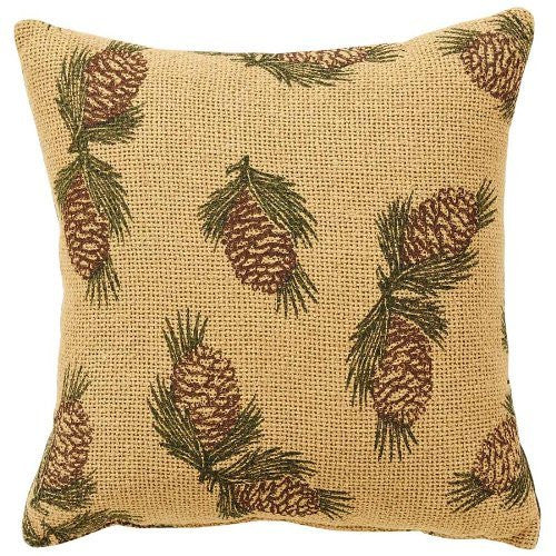 Pine Cone Pillow Printed Burlap 10x10""