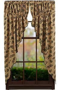 Pine Cone Prairie Curtain Printed Burlap Set of 2-36x63""