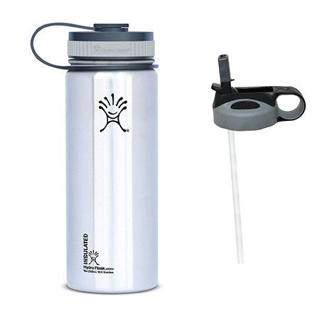 Hydro Flask 18oz Wide Mouth Water Bottle with 2 Caps (Wide Mouth Cap and Straw Lid),18 oz,Classic Stainless w/Straw Lid