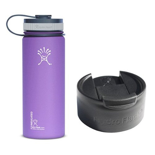 Hydro Flask 18oz Wide Mouth Water Bottle with 2 Caps (Wide Mouth Cap and Flip Lid),Acai Purple