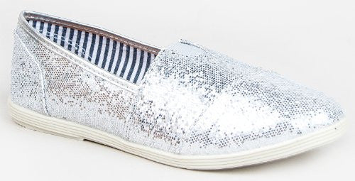 Soda Women Object Flats-Shoes,8 B(M) US,Silver Glitter-as