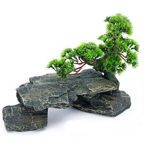 Deco replcas Resin Ornament Bonsai Tree on Rocks