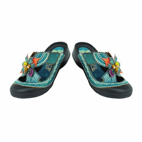 Fern Bumped Toe w/ Flower Sandals - Blue (Size 9)