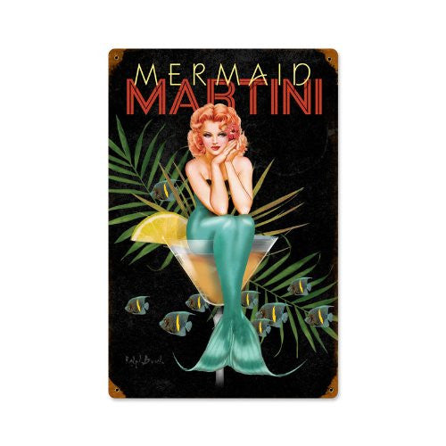 Mermaid Martini vintage metal sign measures 12 inches by 18 inches