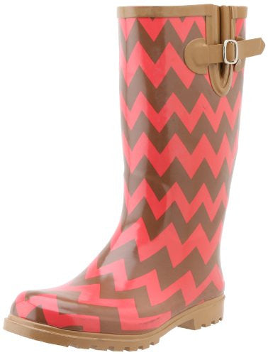 Nomad Women's Puddles Rain Boot, Brown/Coral Chevron, 8 M US