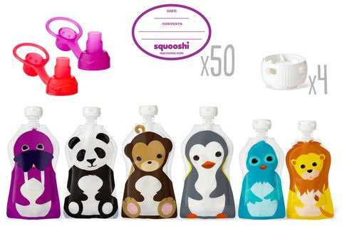 Squooshi Family Starter Kit - Sip'n Soft Tops (red and purple), Pouch Caps (white)