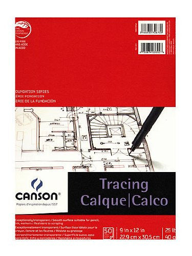 "Canson Foundation Series Tracing Paper Pad 9""X12"", 50 sheets"