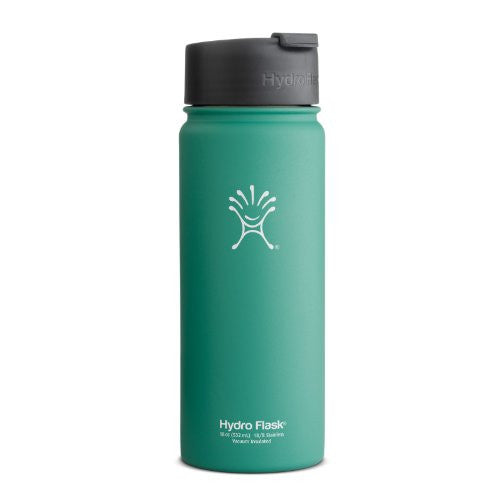 Hydro Flask Insulated Stainless Steel Coffee/Tea/Water Bottle, Wide Mouth with Hydro Flip Lid, 18-Ounce,18OZ,Green Zen with Straw Lid
