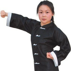 "Kung Fu Top, Size 7, 225lbs 6'2"", Black with White Trim"