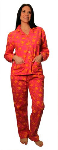 bSoft 100% Cotton Flannel Classic Button Up Pajamas,Large,Floral Damask Blue (Orange Rose / Large)