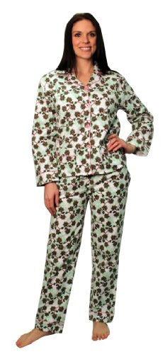 bSoft 100% Cotton Flannel Classic Button Up Pajamas,Large,Floral Damask Blue (Green Vines / 2X Plus)