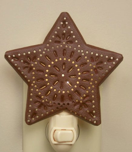 Punched Star Night Light - Red