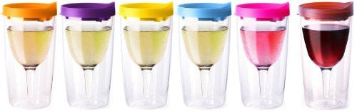 Vino2Go Wine Tumbler 10 oz, Multicolor Lid, Pack of 6