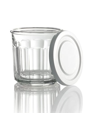 Working Glass S/4 Glass w/White Lid 14 oz.