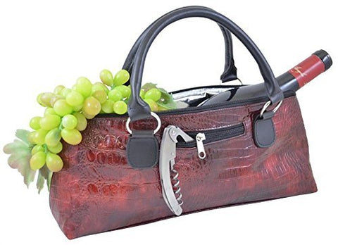 Wine Clutch - Burgundy Croc Insulated Single Bottle Wine Tote