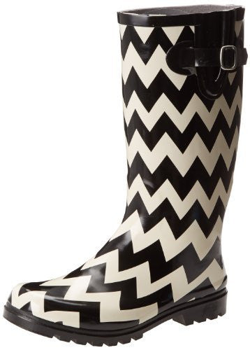 Nomad Women's Puddles Rain Boot,Black/White Chevron,6 M US