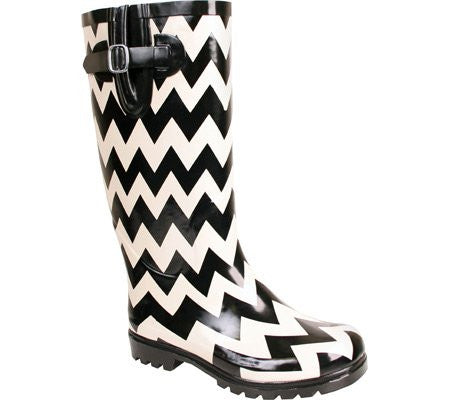 Nomad Women's Puddles Rain Boot,Black/White Chevron,10 M US