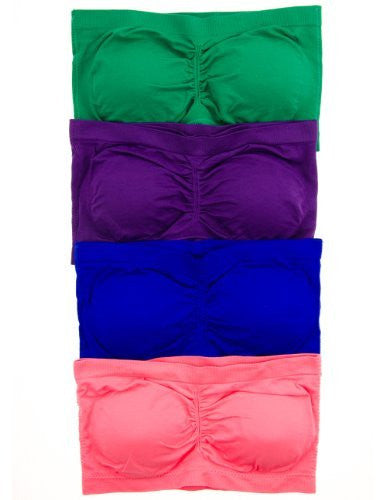 Anenome Women's Strapless Seamless Bandeau Padding (2 or 4 pack),One Size,4 Pack: Coral/Green/Royal/Purple