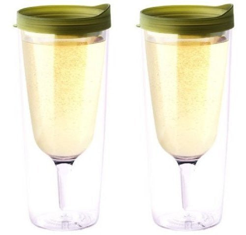 Vino2Go Wine Tumbler 14 oz, Verde Lid, Pack of 2