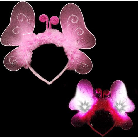 Light Up Pink Butterfly Headband