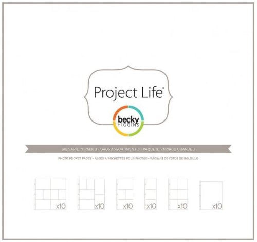American Crafts - Project Life Page Protectors Big Variety Pack 60/Pkg - Big Variety Pack 3