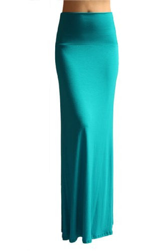 Azules Women's Rayon Span Maxi Skirt (Teal / Small)