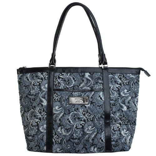 "Gray Quilted Paisley Tote Bag w/""Trust"" Badge"