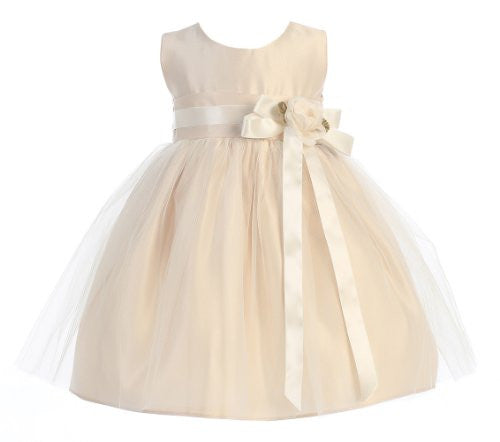 Vintage Satin and Tulle Dress Champagne