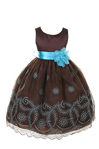 Beautiful Organza Dress with Floral Pattern Embroidered on Skirt - Chocolate, Size 8