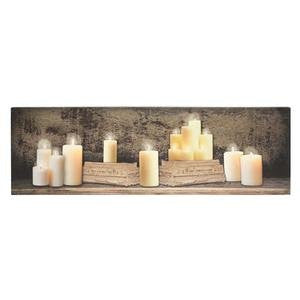 LIGHTED MANTEL OF CANDLES CANVAS (12 X 40 X 3/4)