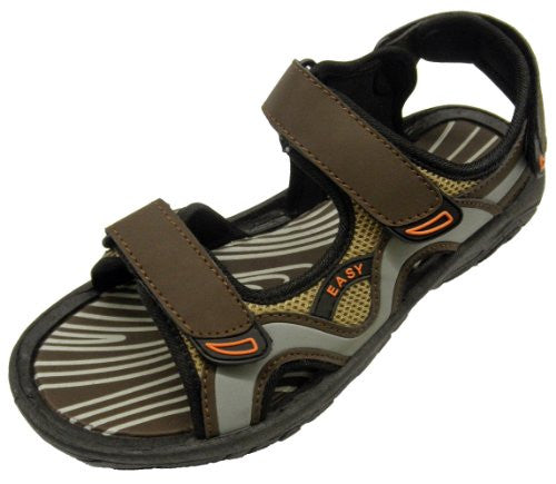 Wholesale Men's Velcro Sandals - Brown/Grey, Size 13