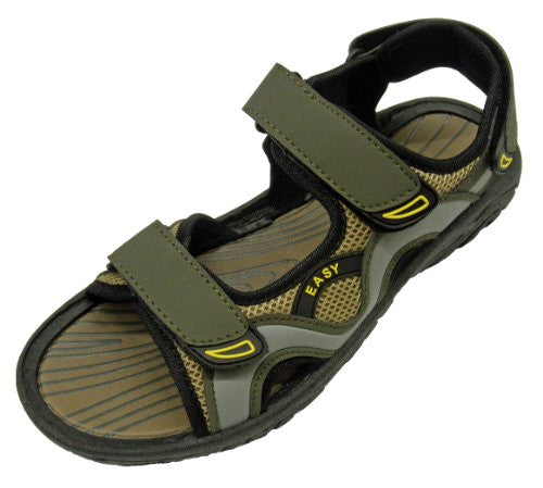Wholesale Men's Velcro Sandals - Olive/Grey, Size 8