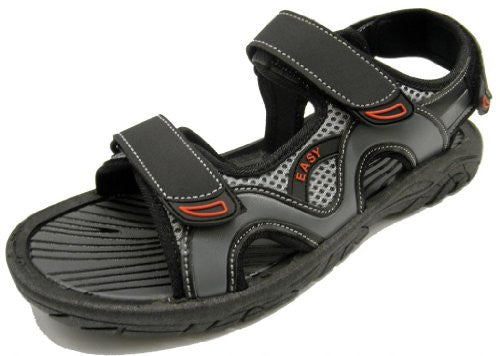 Wholesale Men's Velcro Sandals - Black/Grey, Size 8