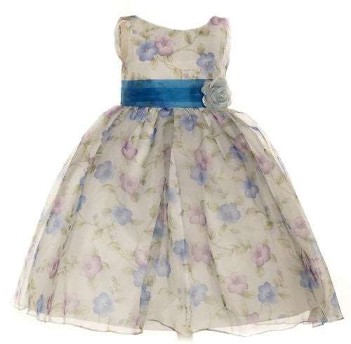 Beautiful Organza Floral Printed Dress - Blue, Size 6