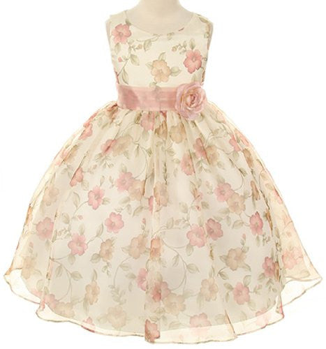 Beautiful Organza Floral Printed Dress - Vintage Rose, Size 2