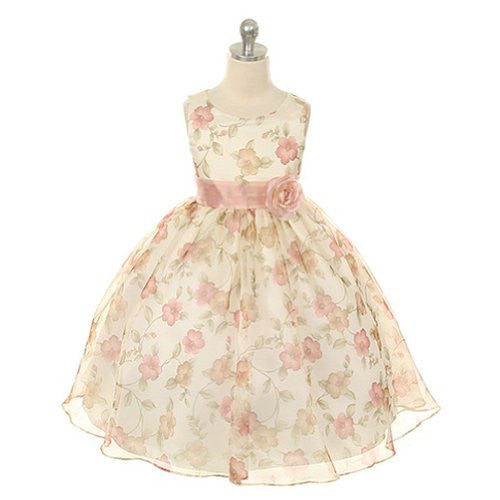 Beautiful Organza Floral Printed Dress - Vintage Rose, Size 8