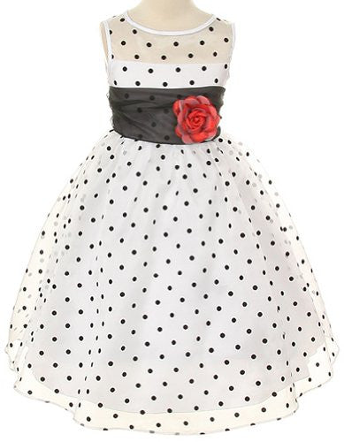 Lovely Organza Polkadot Dress with Sheer Illusion Neckline - White/Black Dots, Size 12