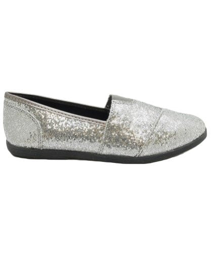 Soda Women Object Round Toe Flats Shoes,9 B(M) US,Gun Glitter