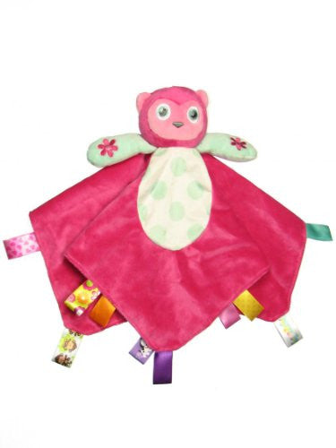Taggies Owl Plush Security Blanket with Rattle Owl Head and Satin Backside by Taggies (Color: Hot Pink)
